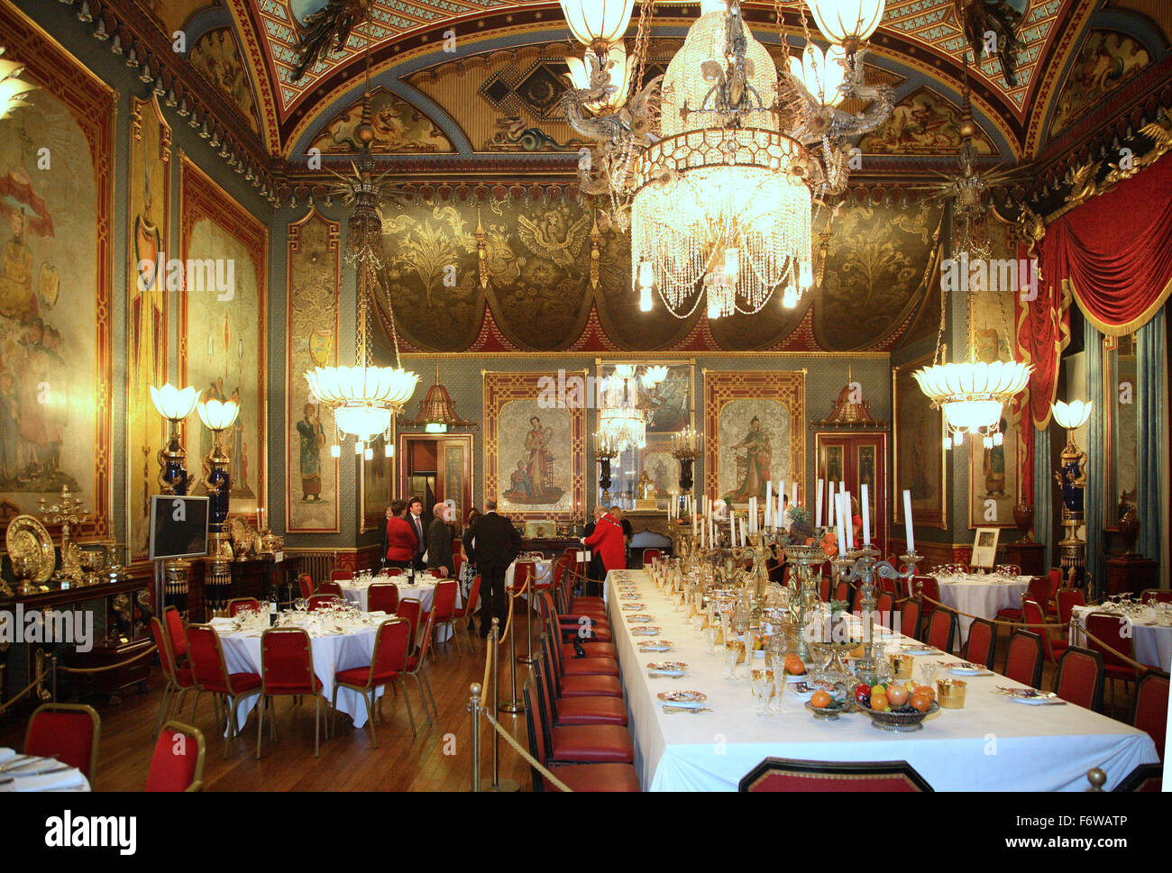 The Dining Room At The Royal Pavilion Building In Brighton, UK. Set Up For  A Corporate Dinner Event