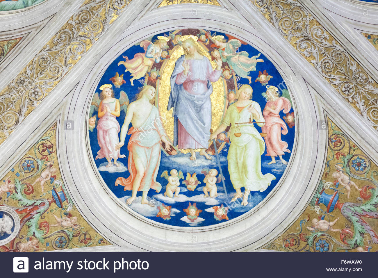 Christ between mercy and justice, Perugino - Stock Image