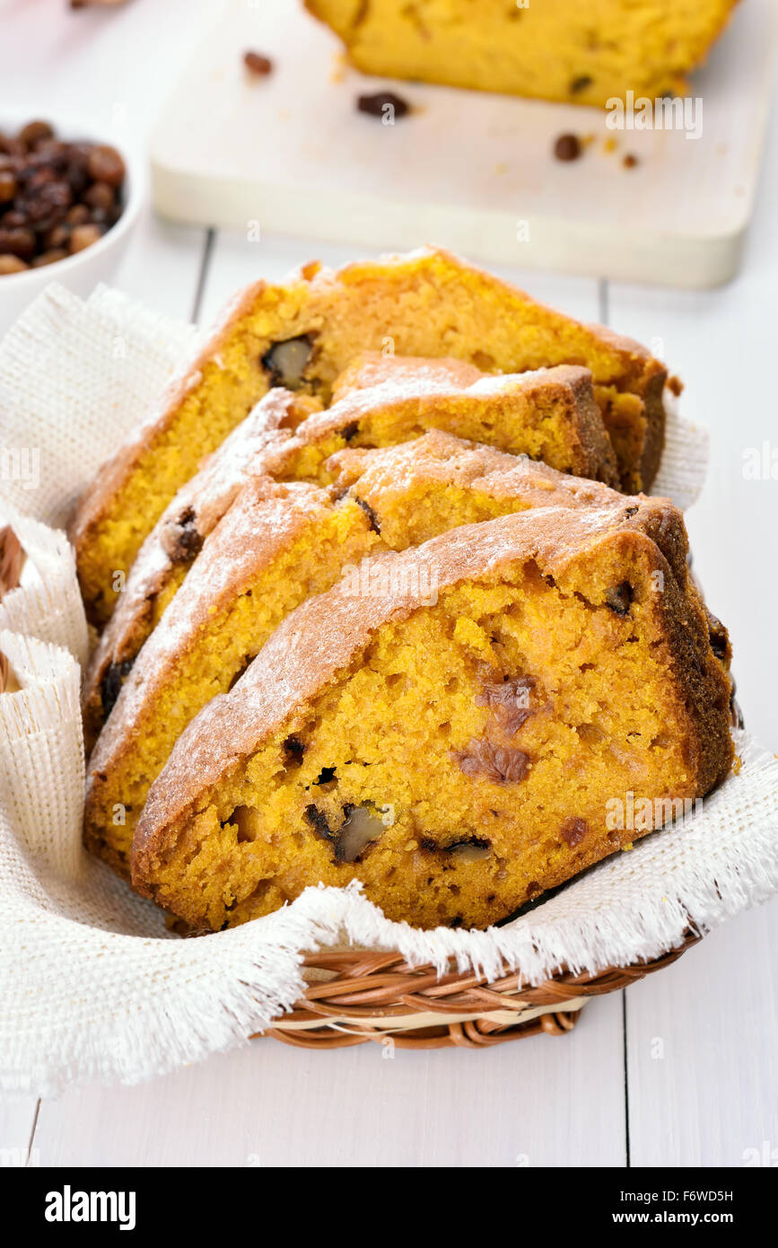 Slices of pumpkin bread with nuts and raisin Stock Photo