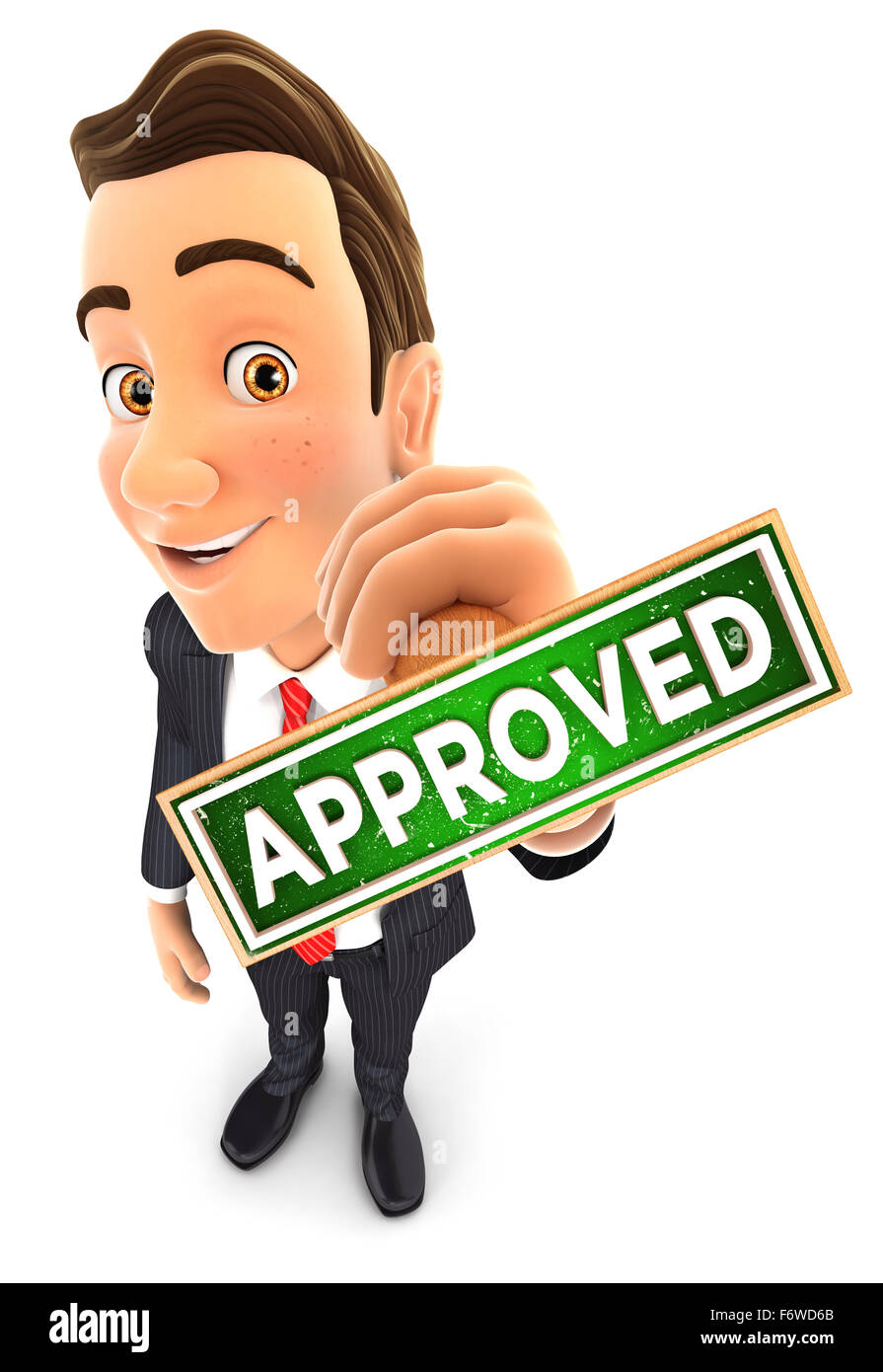 3d businessman holding approved stamp, isolated white background Stock Photo