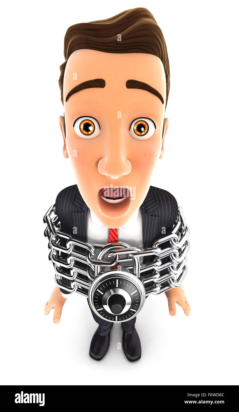 3d businessman fully chained, isolated white background Stock Photo