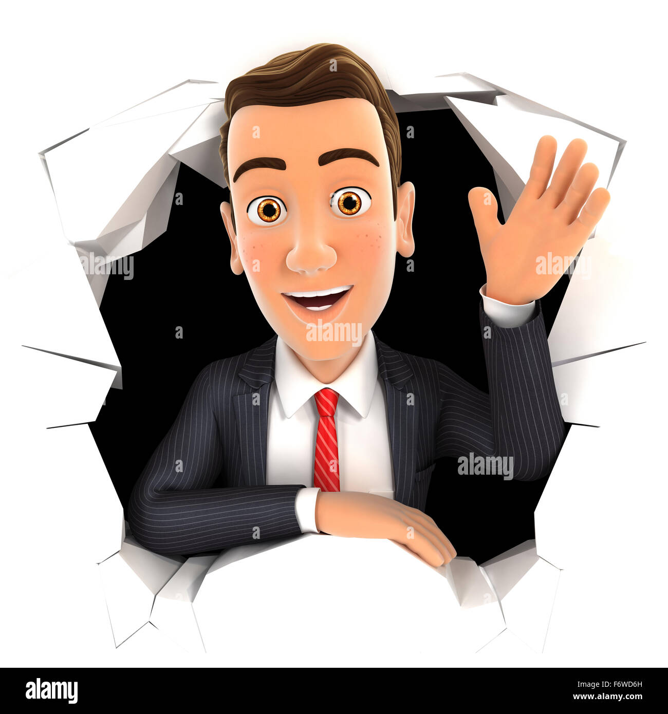 3d businessman waving hand through hole in wall, isolated white background Stock Photo