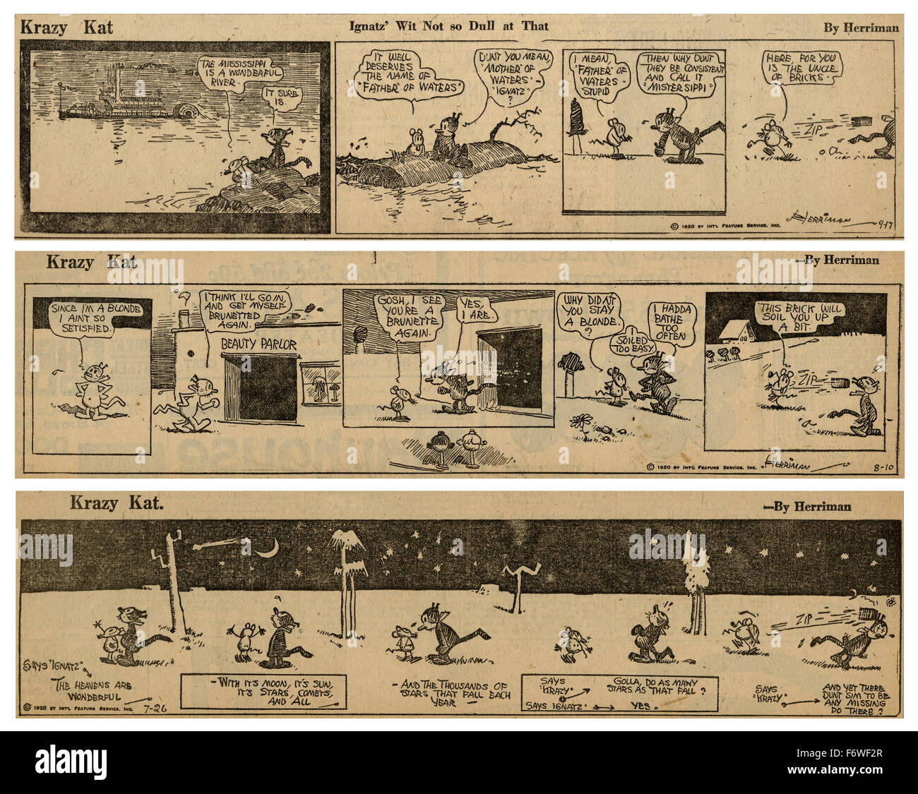 Three 1920 Krazy Kat comic strips by George Herriman, featuring Krazy Kat and Ignatz Mouse. - Stock Image