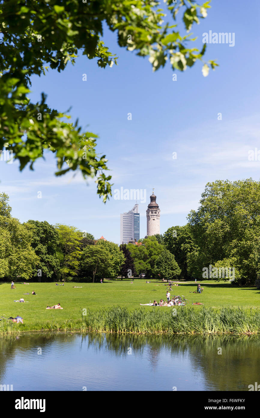 Pond in Johanna Park, City-Hochhaus and New Town Hall in background, Leipzig, Saxony, Germany - Stock Image