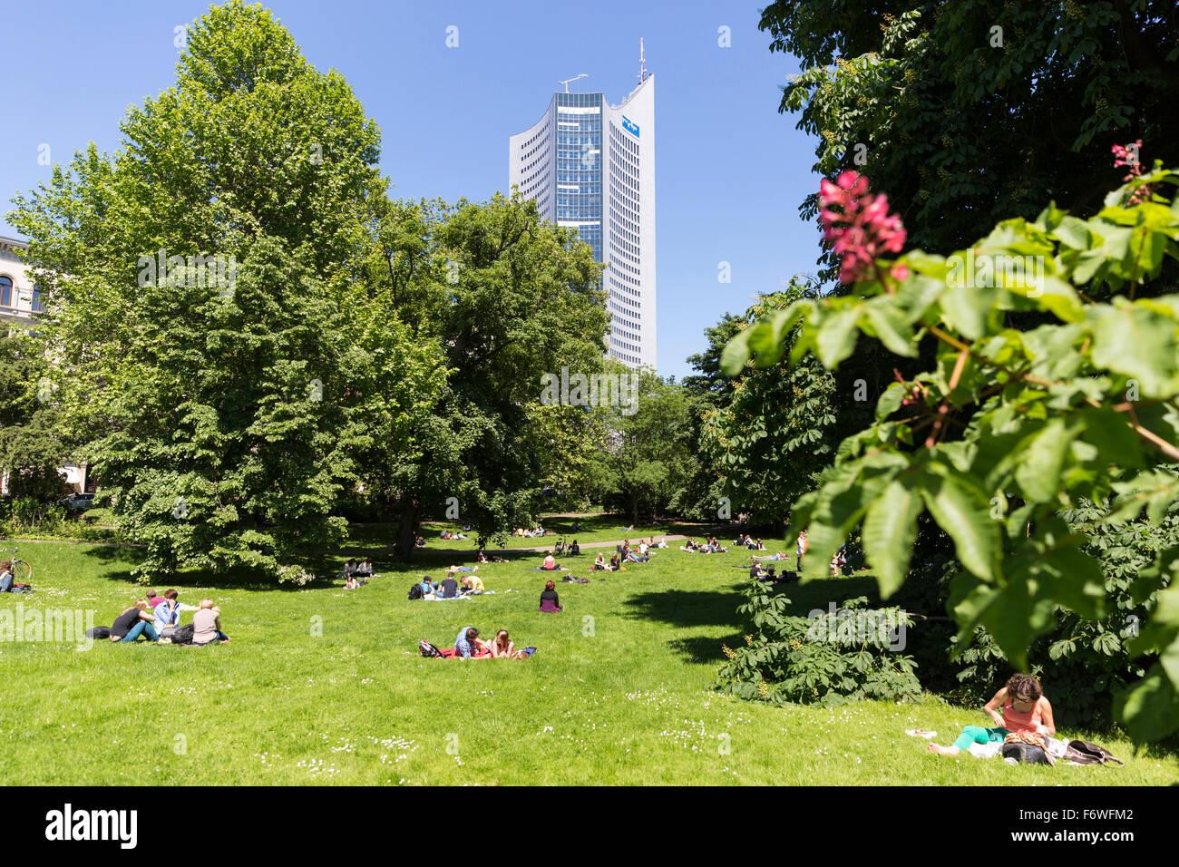 Park near the Leipzig University, City-Hochhaus in background, Leipzig, Saxony, Germany - Stock Image