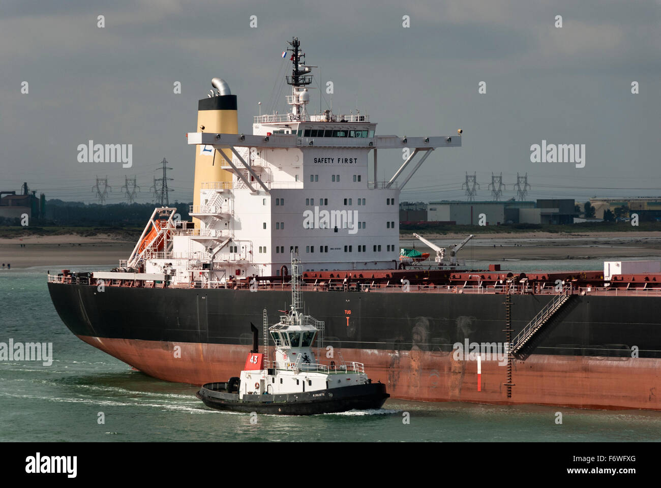 The Greek registered bulk carrier Epic coming out of the port of Le Havre, France - Stock Image