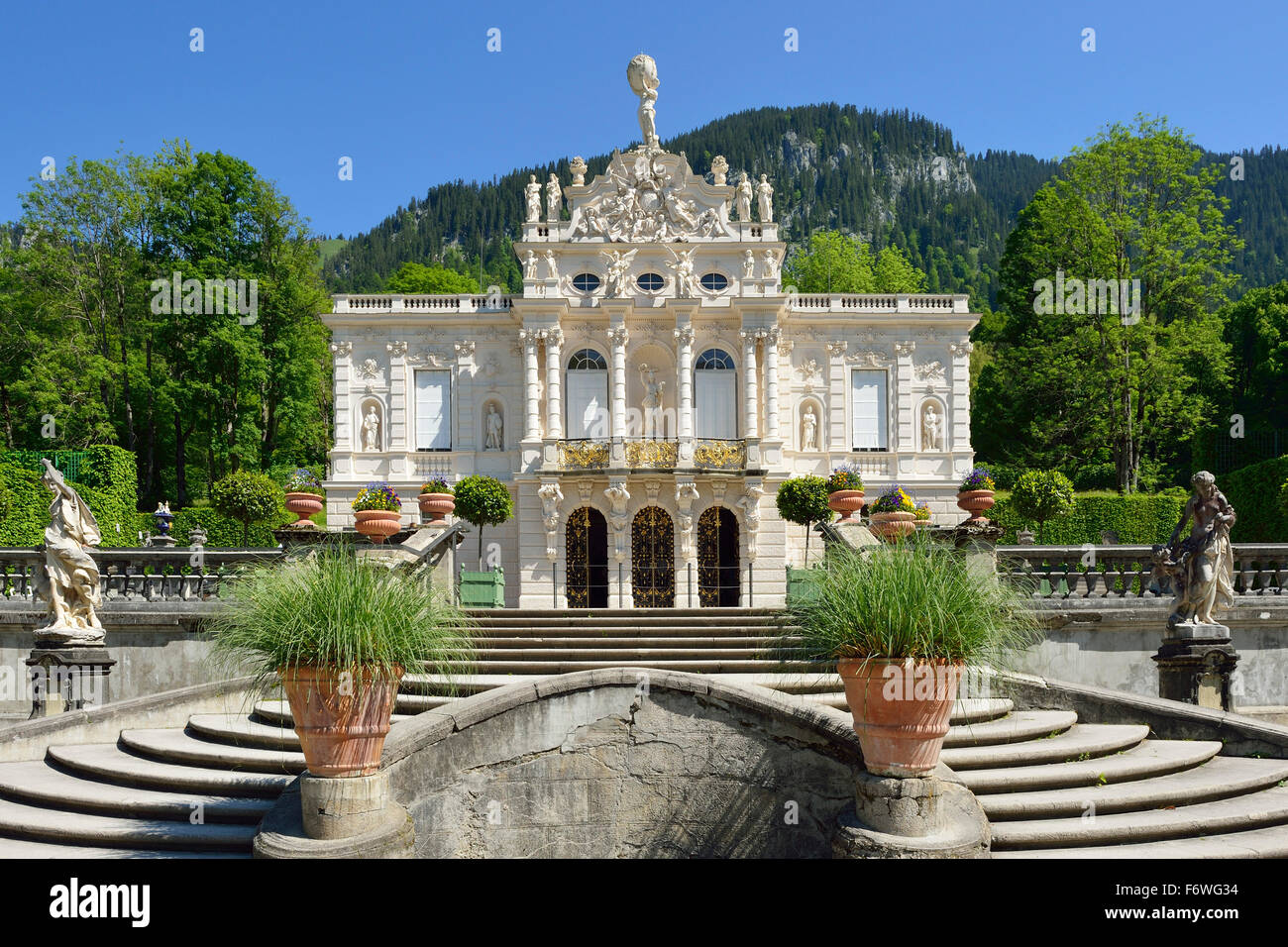 Linderhof Castle of King Ludwig II of Bavaria, Linderhof castle, rococo, Ammergau range, Bavarian Alps, Upper Bavaria, - Stock Image
