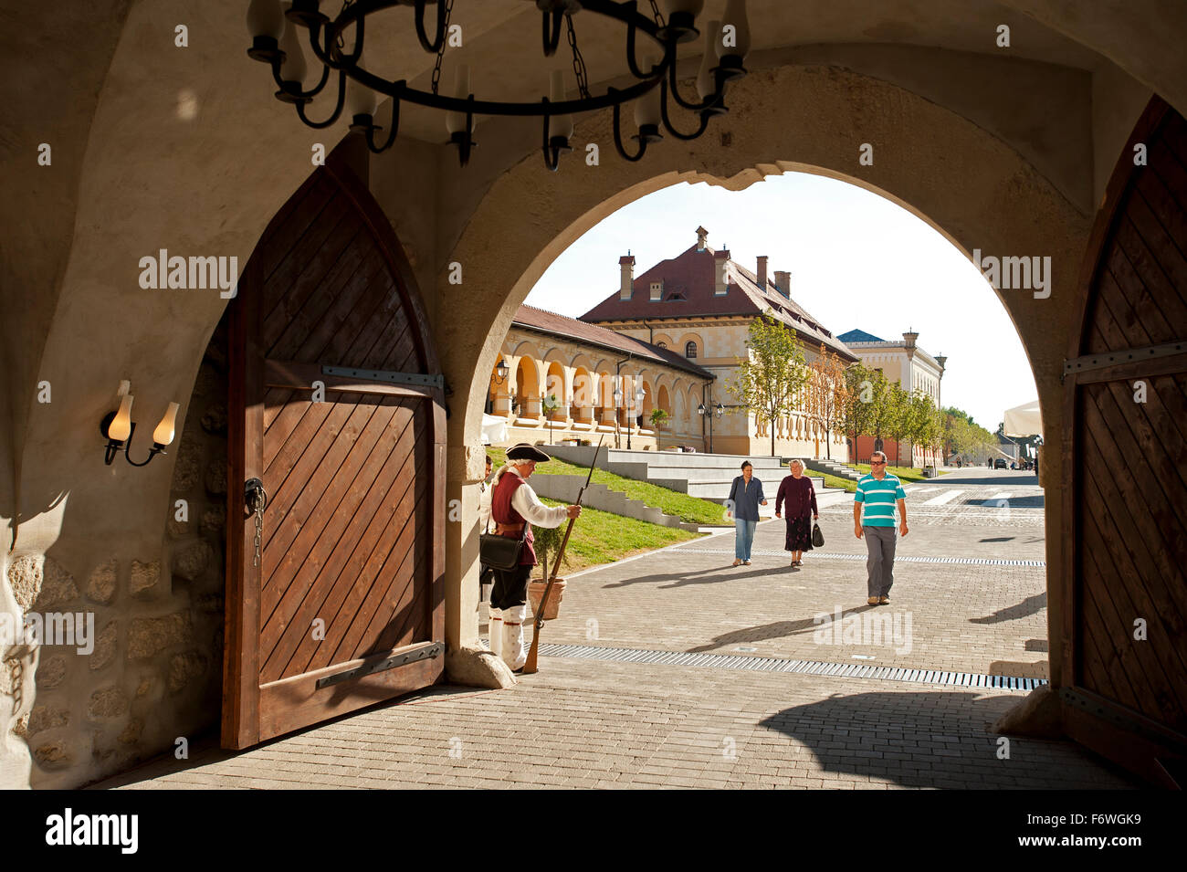 Guard at the Fourth Gate of the bastion, Alba Iulia, Transylvania, Romania - Stock Image