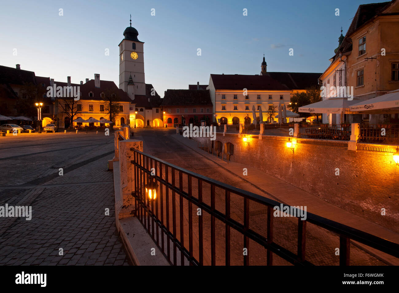 Piata Huet in the historic part of town, Sibiu, Transylvania, Romania - Stock Image