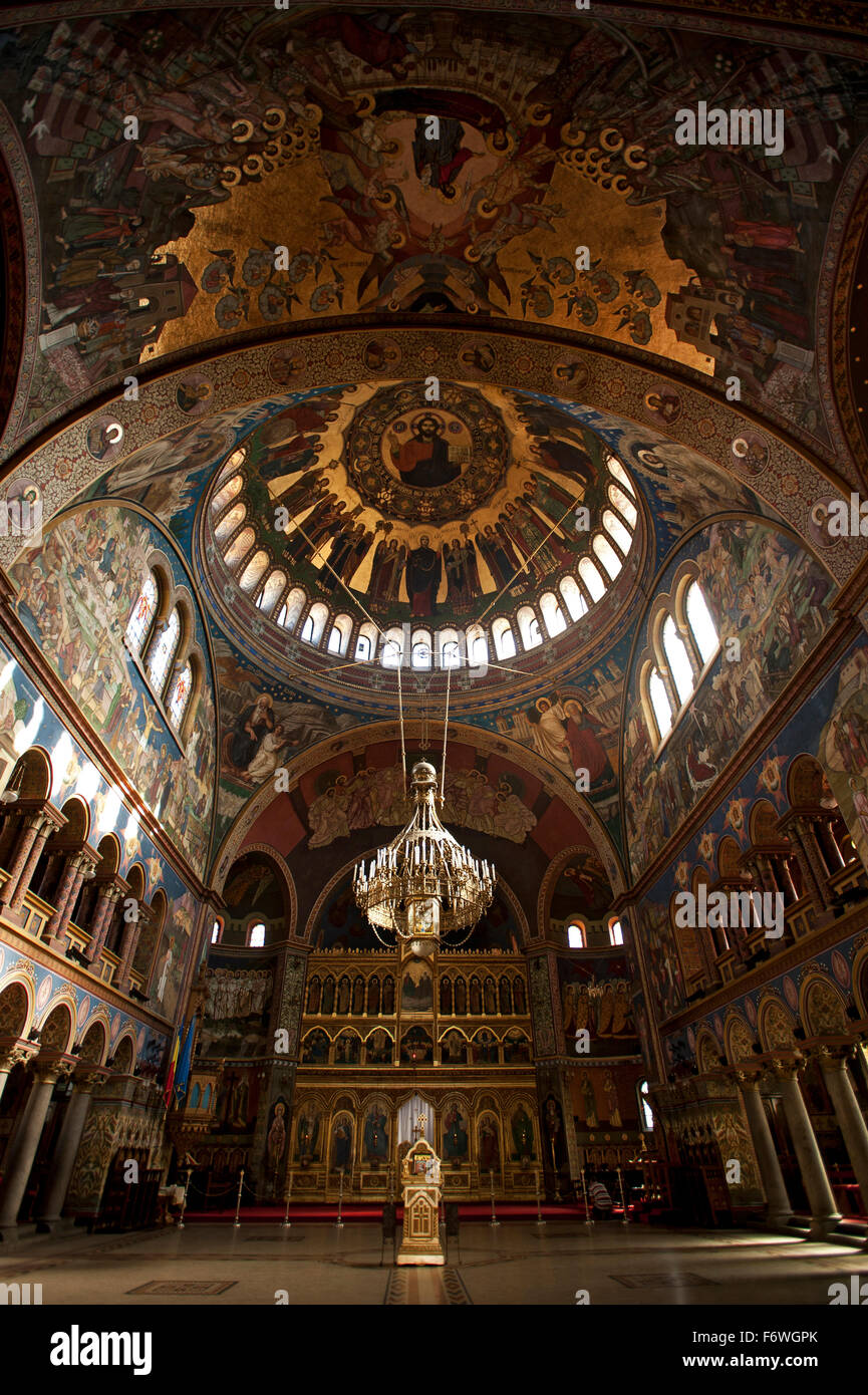 Interior view of the Orthodox Cathedral, Sibiu, Transylvania, Romania - Stock Image