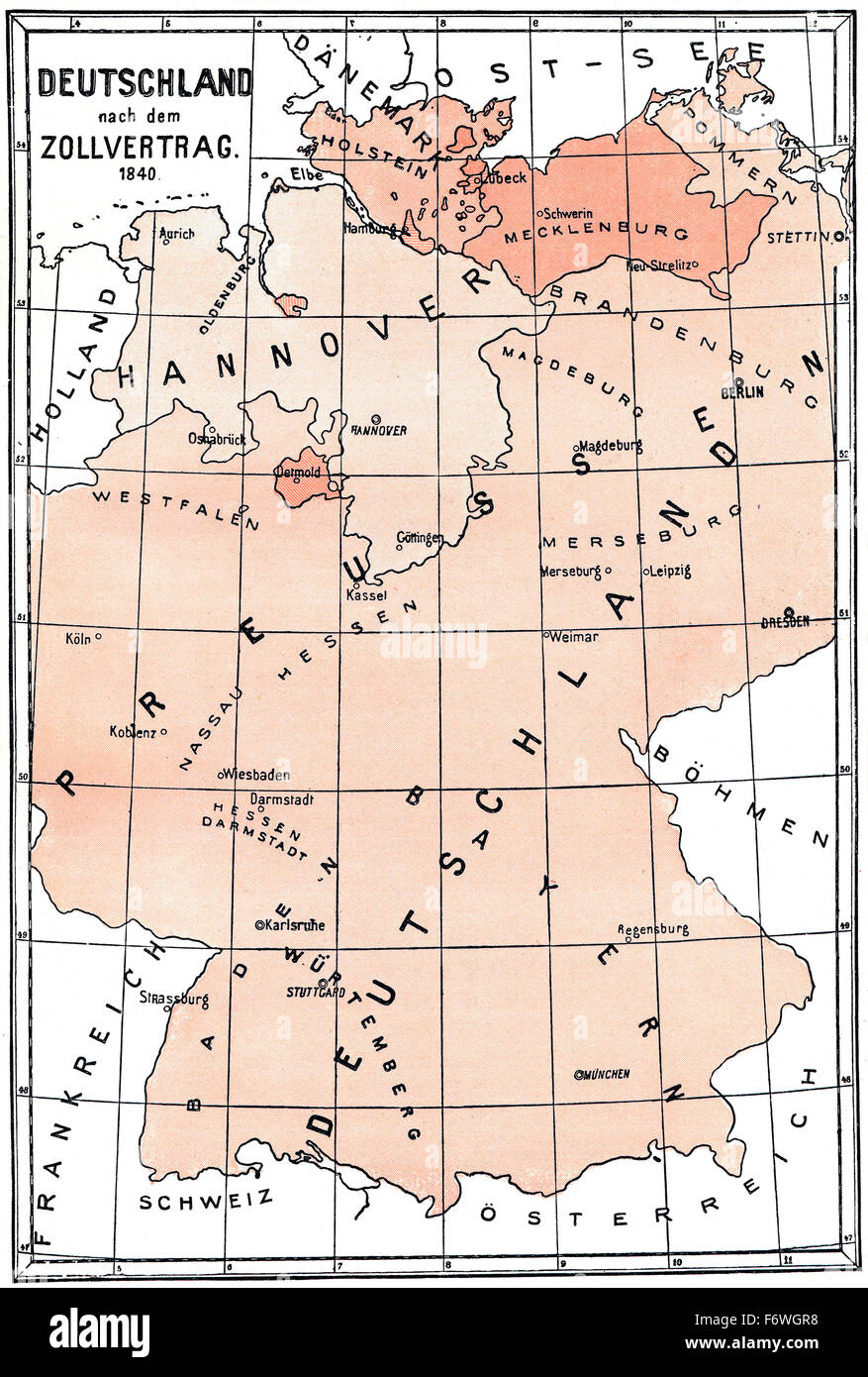 Historical Map Germany After The Customs Treaty Of 1840 Stock