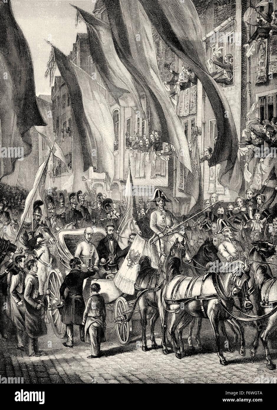 Archduke John of Austria, 1782 - 1859, an Austrian field marshal, arrival as German Imperial regent in Frankfurt - Stock Image