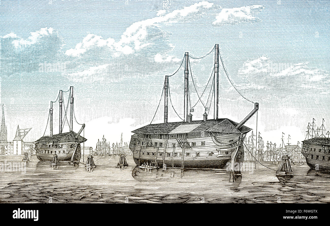 The Danish prison-ships Dronning Maria and Waldemar at Copenhagen, Denmark, The First Schleswig War, 1848 to 1851, - Stock Image