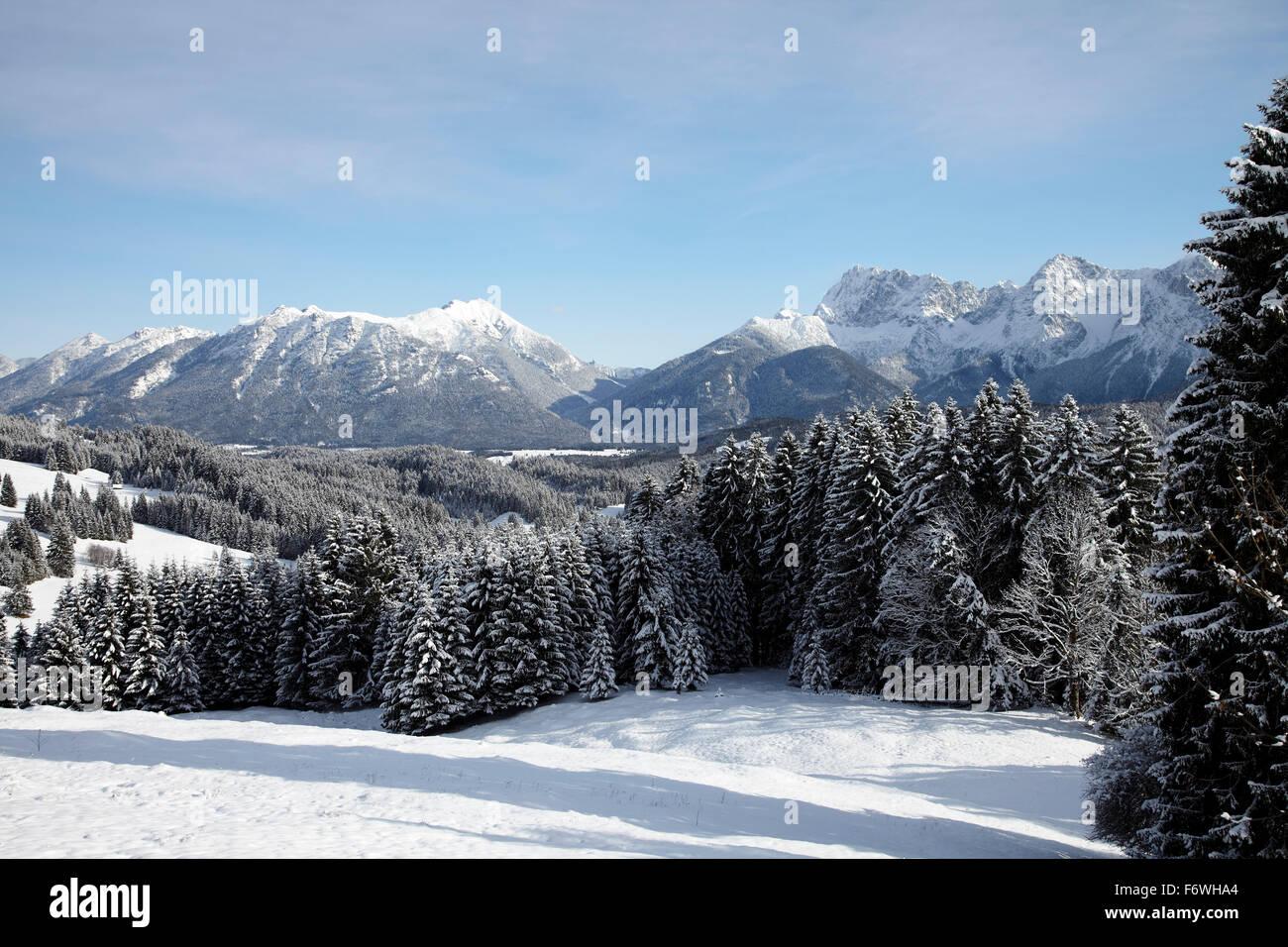 View to snwo-coverd Karwendel range, Elmau, Bavaria, Germany - Stock Image