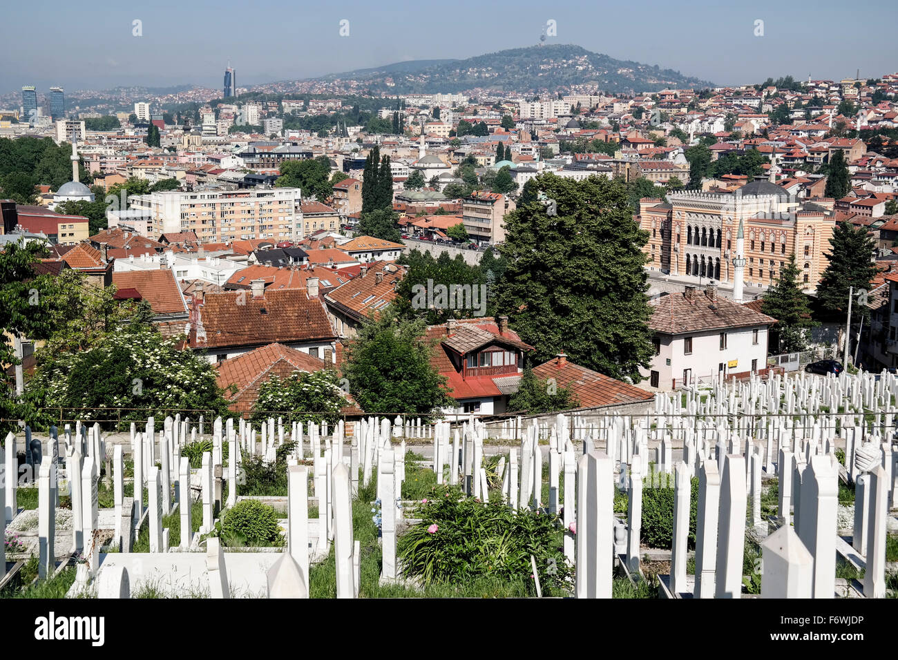 National Library of Bosnia and Herzegovina seen from Alifakovac. Stock Photo