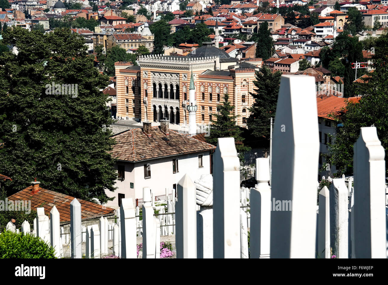 National Library of Bosnia and Herzegovina seen from Alifakovac. - Stock Image