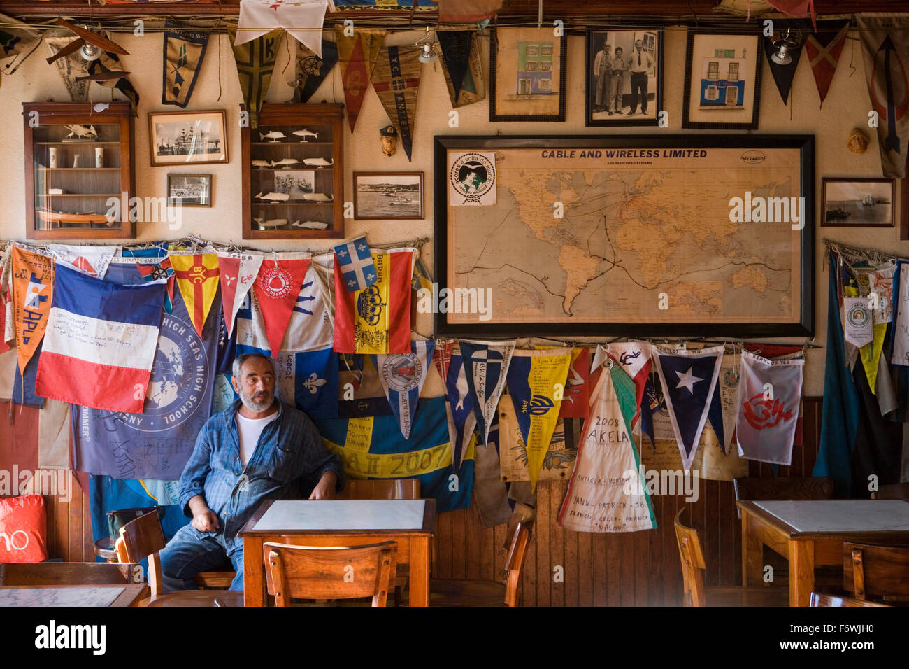 Interior of Peter Cafe Sport, a legendary yacht crew bar in the middle of the Atlantic Ocean, Horta, Faial Island, Stock Photo