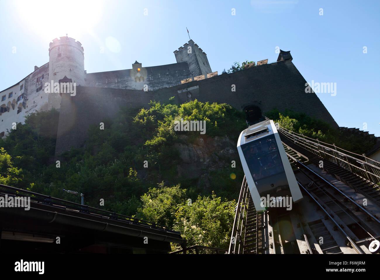 Funicular to Hohensalzburg Castle, Salzburg, Austria Stock Photo
