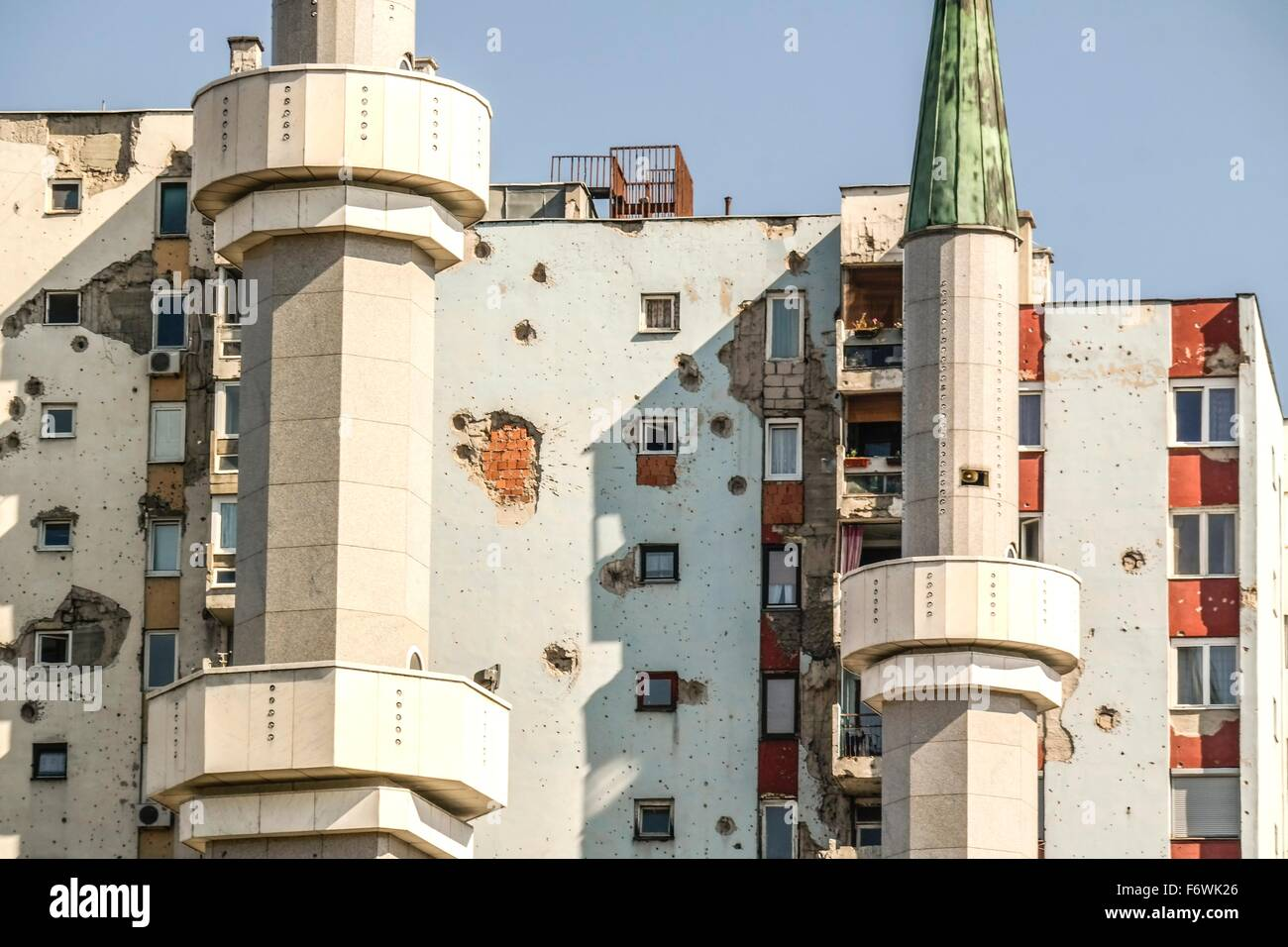 Residential building complexes in Dobrinja (Sarajevo) with remnants of artillery shellings of the Bosnian Civil - Stock Image