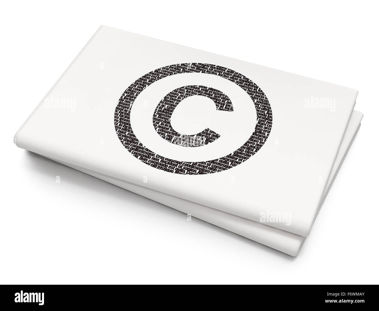 Law Concept Copyright On Blank Newspaper Background Stock Photo