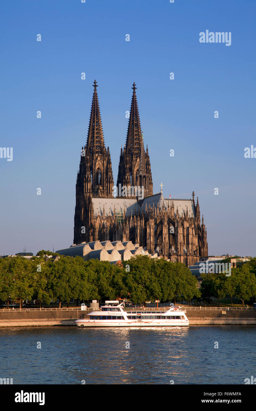 Excursion ship on the Rhine river in front of Cologne cathedral, Cologne, Rhine river, North Rhine-Westphalia, Germany - Stock Image