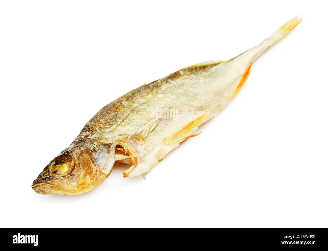 salty dried fish perch, isolated on white background - Stock Image