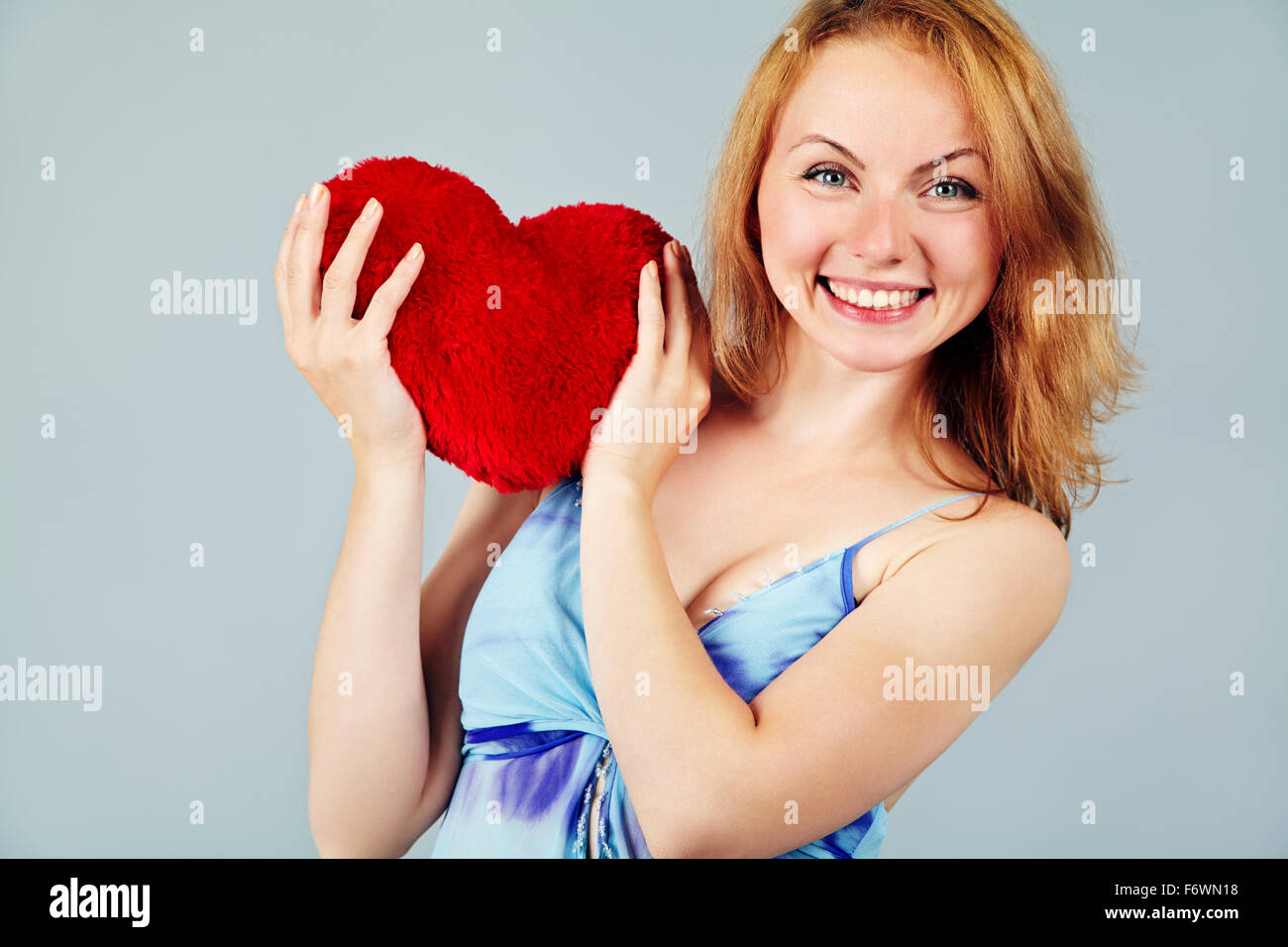 woman waiting for Valentine's Day - Stock Image