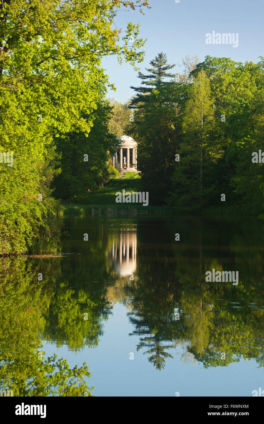 View to the temple of Venus, Woerlitz, UNESCO world heritage Garden Kingdom of Dessau-Woerlitz, Saxony-Anhalt, Germany - Stock Image