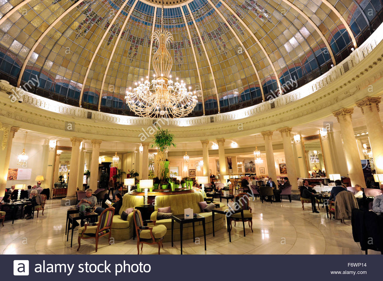 Cupola of glass in the so-called winter garden, Hotel The Westin Palace, Hotel Palace, Plaza de las Cortes square, - Stock Image
