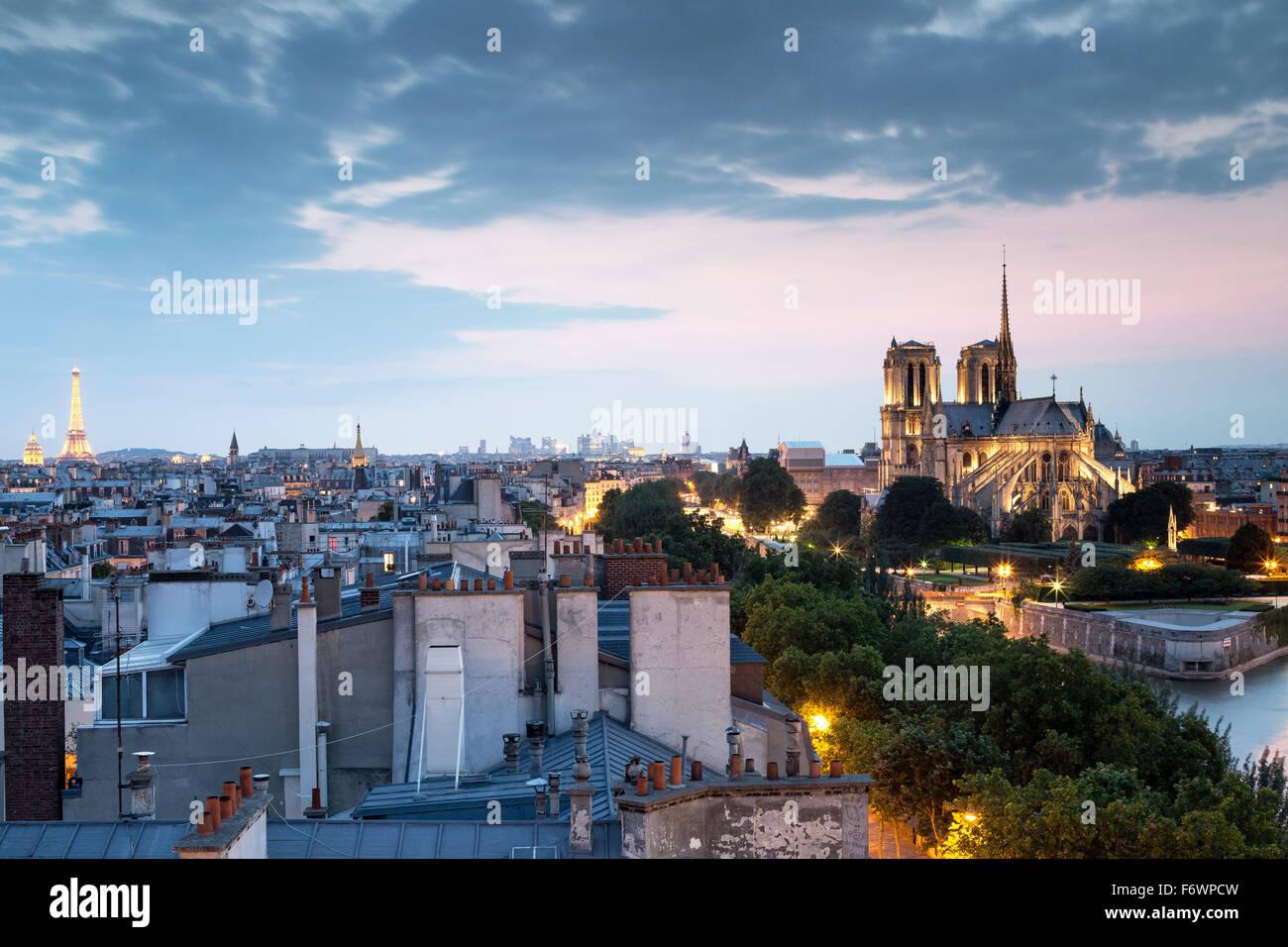 View from the rooftop of La Tour d'Argent towards the Cathedrale Notre-Dame de Paris, Ile de la Cite, Paris, - Stock Image