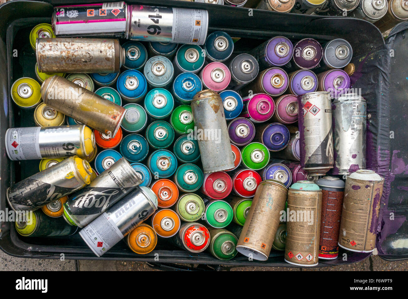 Spray Paint, Cans - Stock Image