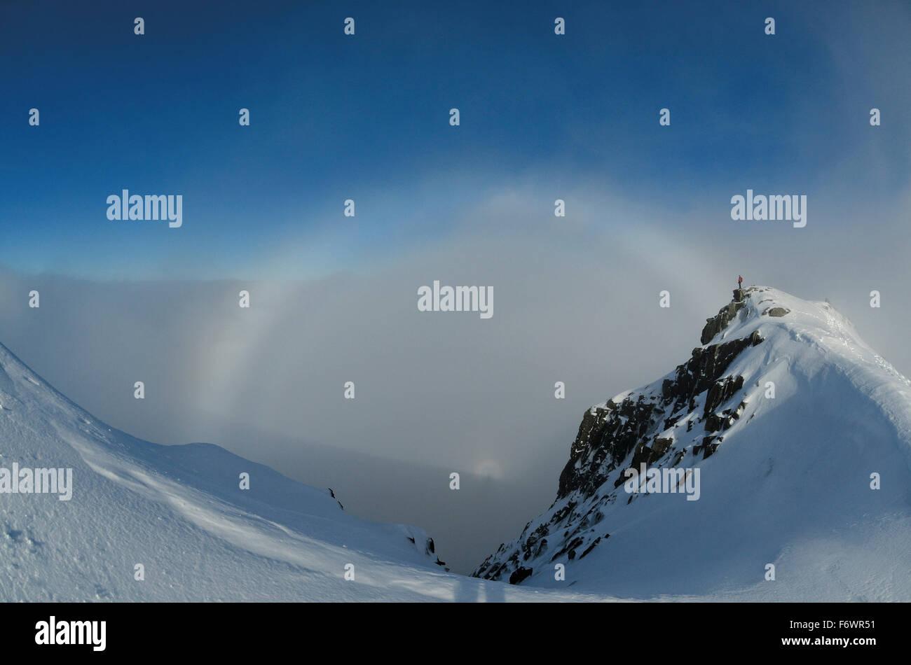 Halo, Ben Nevis, Grampian Mountains, Highlands, Scotland, Great Britain - Stock Image