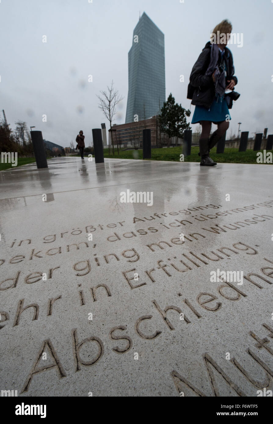 """The word """"Abschied"""" (Farewell) can be seen on a memorial plaque in the outisde area of the newly opened Holocaust Stock Photo"""