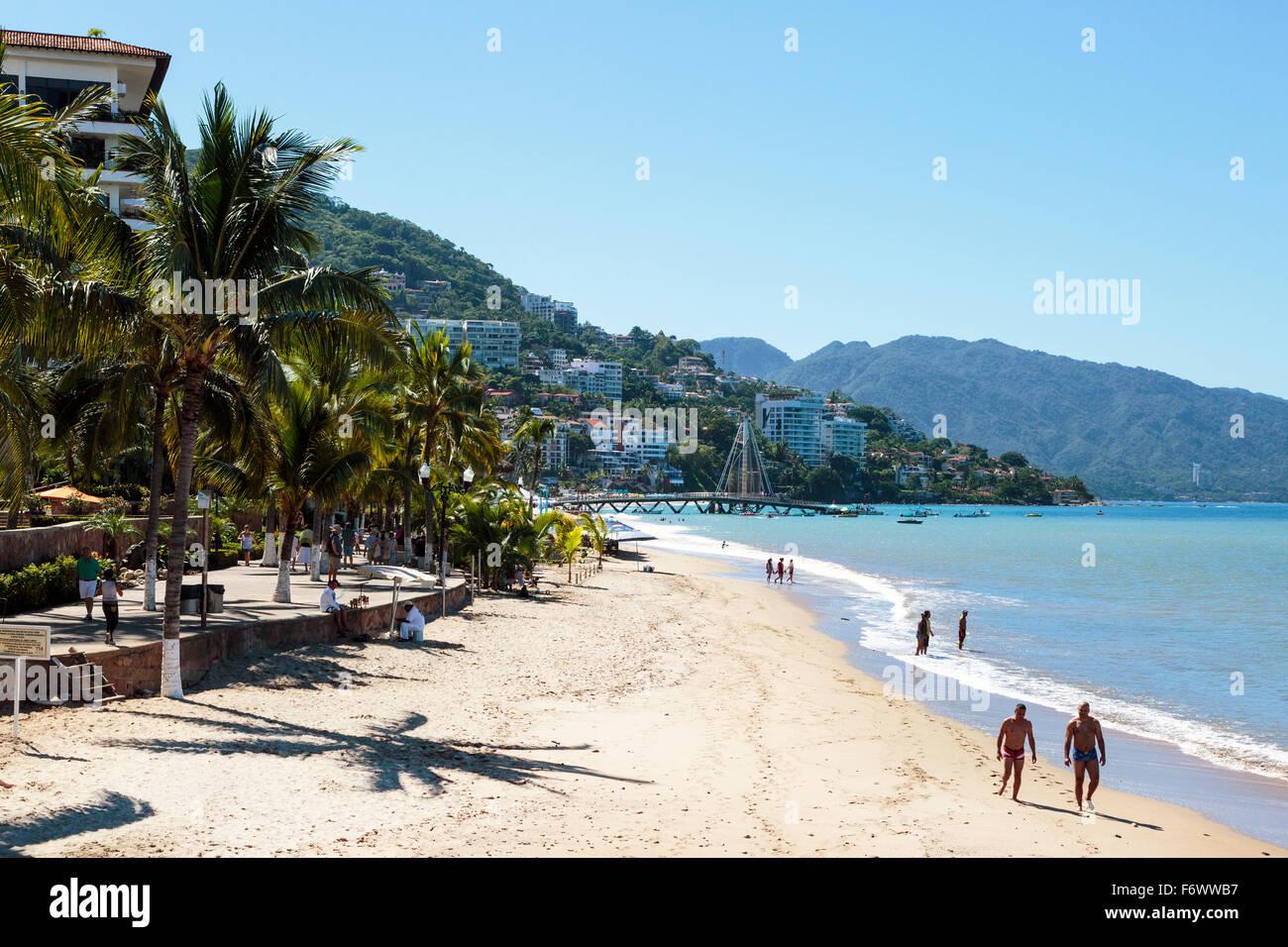 Beach at Zona Romantica, old town of Puerto Vallarta, Mexico Stock Photo