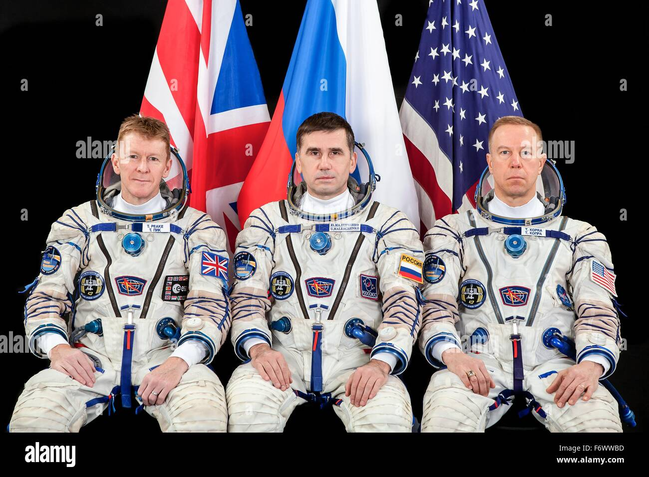 International Space Station Expedition 46/47 crew members (L-R): European Space Agency astronaut Timothy Peake, - Stock Image
