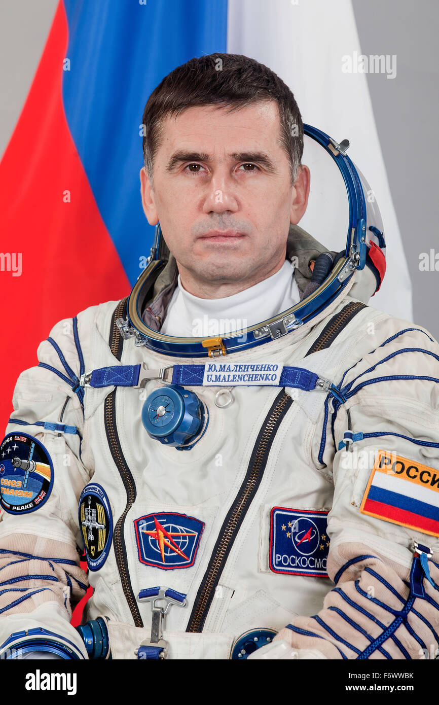 Roscosmos cosmonaut and Expedition 46/47 Flight Engineer Yuri Malenchenko official portrait wearing the Russian - Stock Image