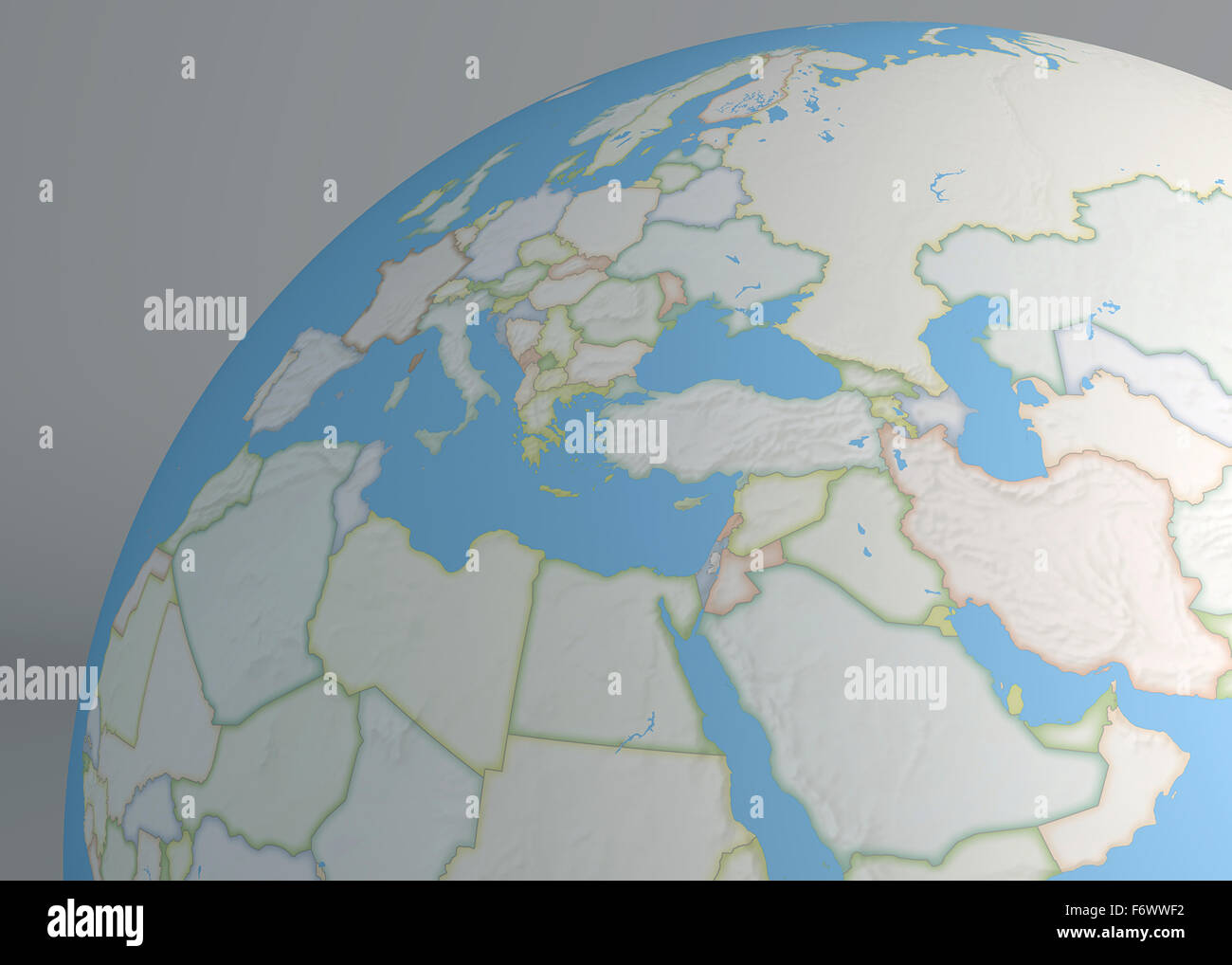 North Africa World Map.World Map Of Middle East Europe And North Africa Stock Photo