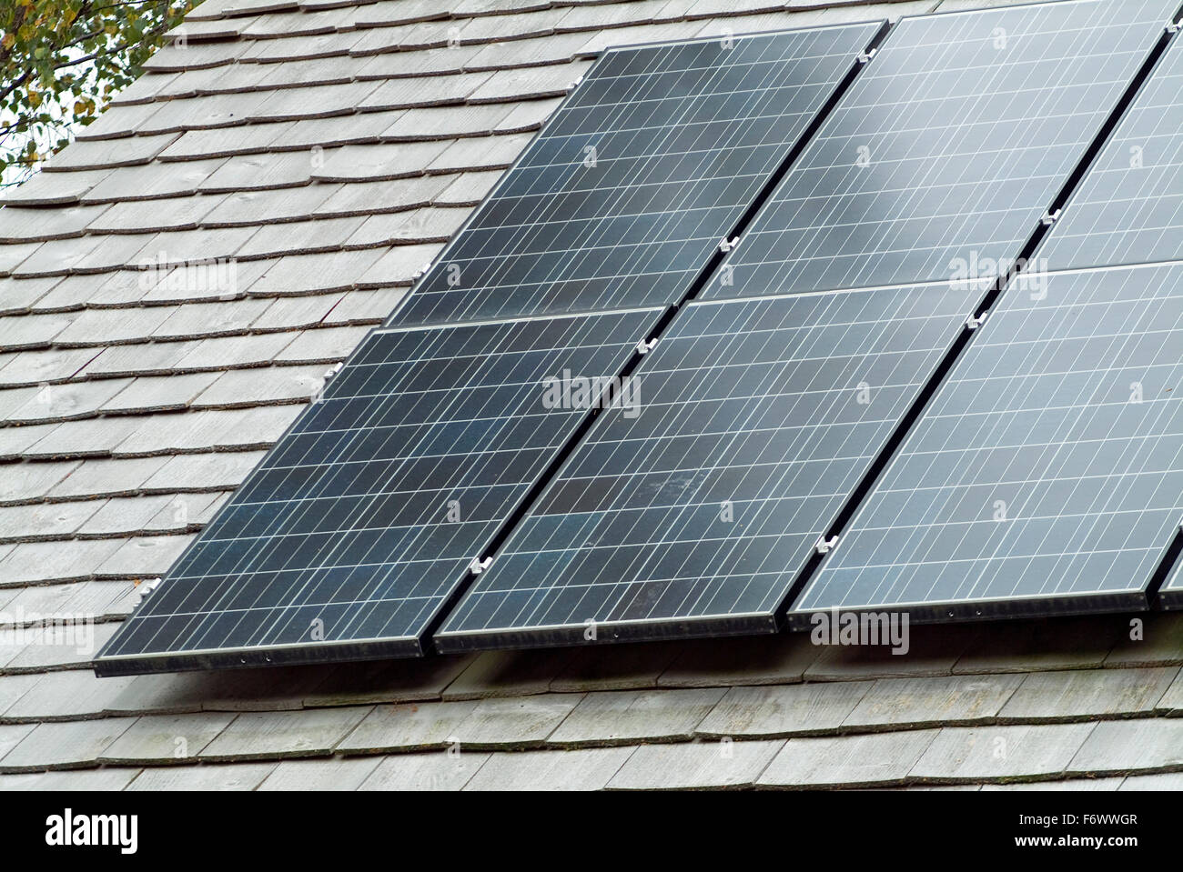 Photovoltaic Station on a roof - Stock Image