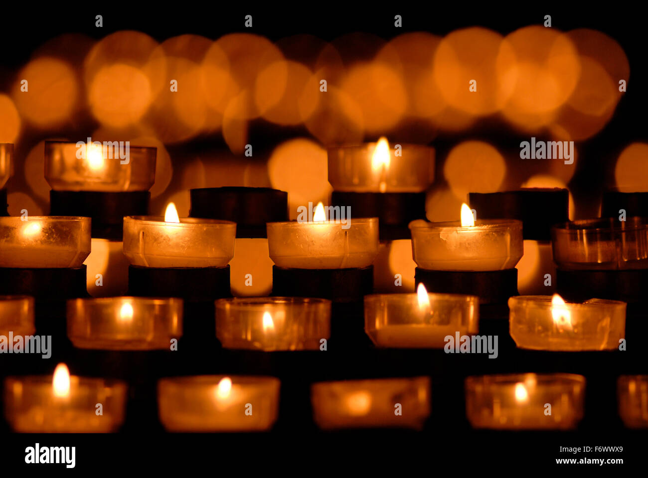 Candles in a catholic church germany europe Stock Photo