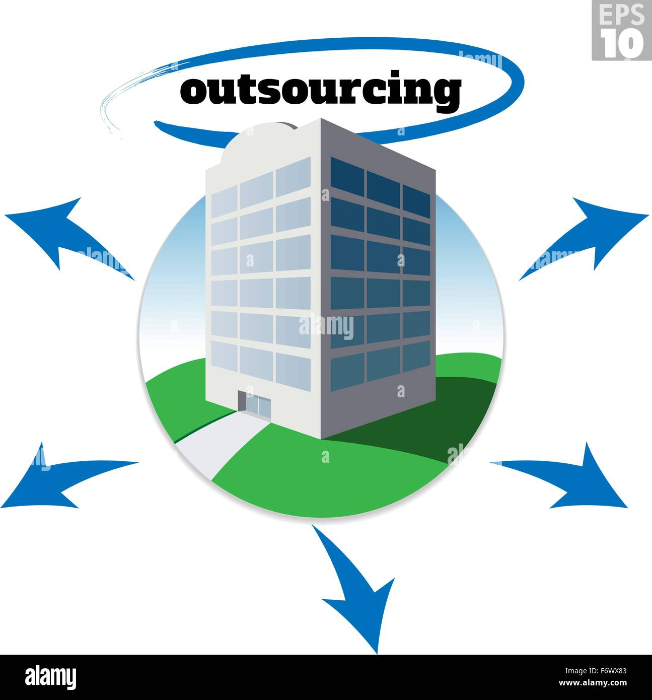 Medium sized company building with outsourcing text and arrows depicting growth or business strategy. - Stock Image