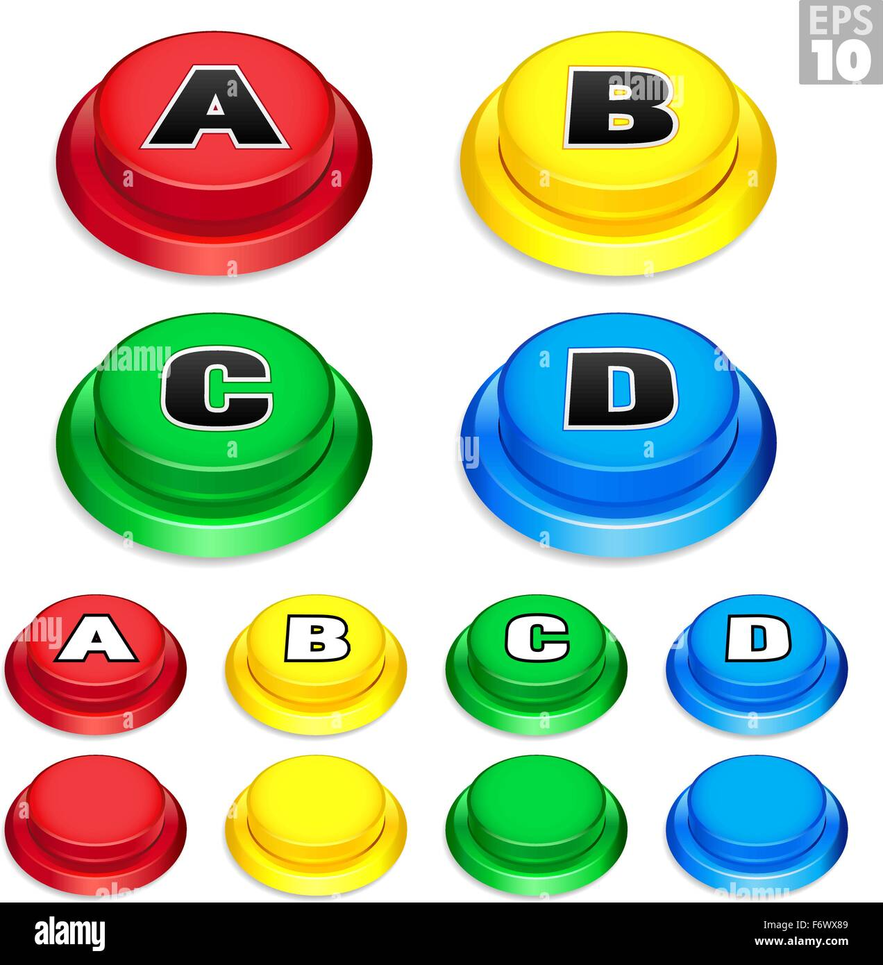 Arcade momentary push buttons In Red, Yellow, Green, and Blue Colors For Retro Games. - Stock Vector