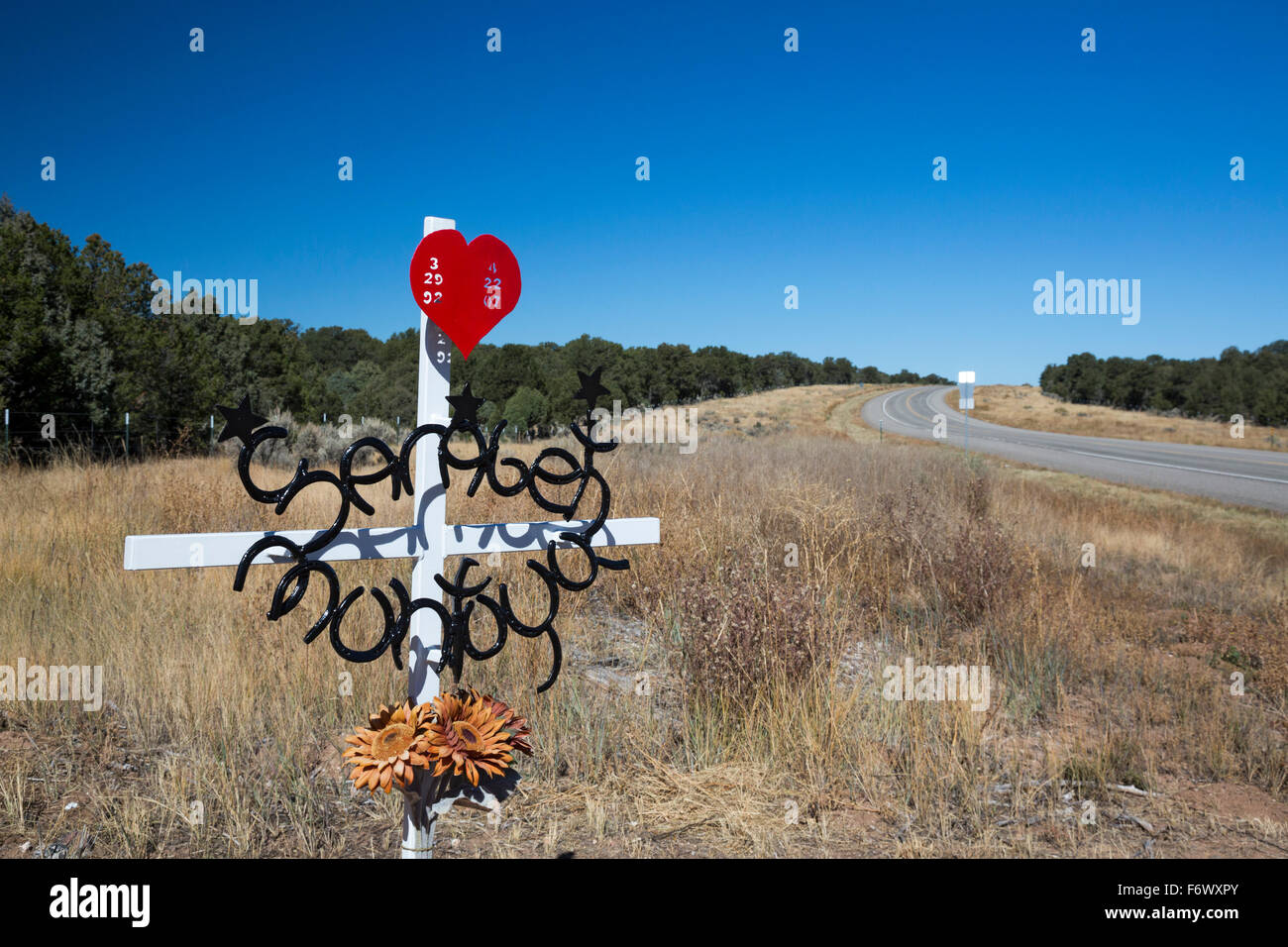 Tres Piedras, New Mexico - A roadside memorial for the victim of a traffic accident. - Stock Image