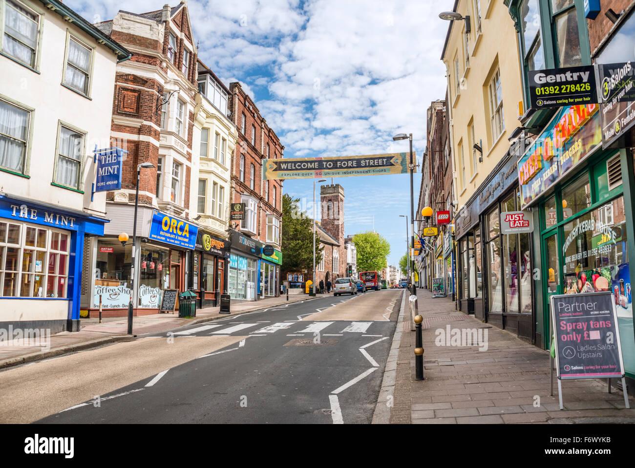 Fore Street Shops in the old town of Exeter, Devon, England, UK |  Fore Street Einkaufsstrasse in der Altstadt von - Stock Image