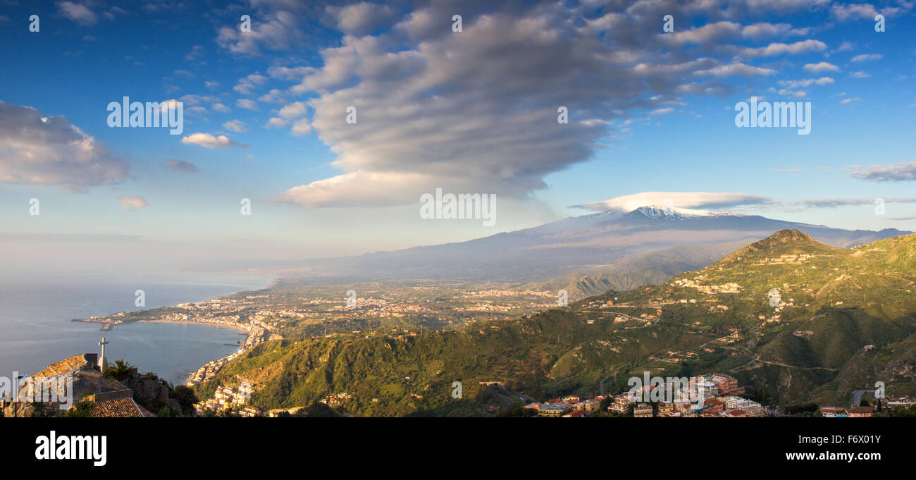 Panorama of the Etna and the sicilian coastline, Italy Stock Photo