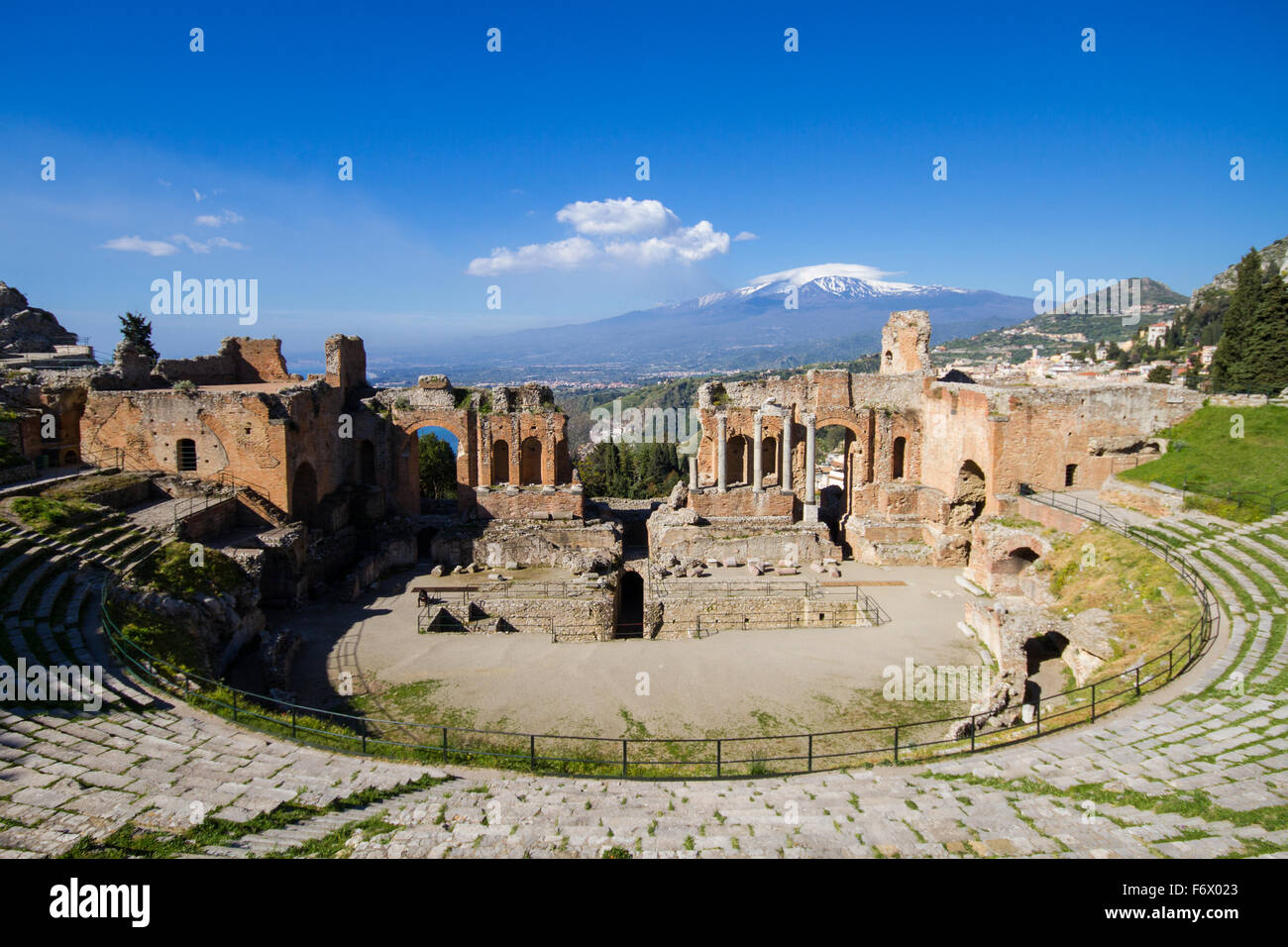 Ancient Greek theater of Taormina, Sicily, Italy - Stock Image