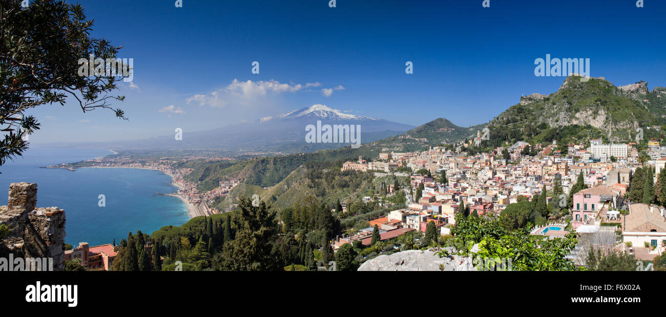 Panorama of Taormina with the Etna Volcano, Sicily, Italy - Stock Image