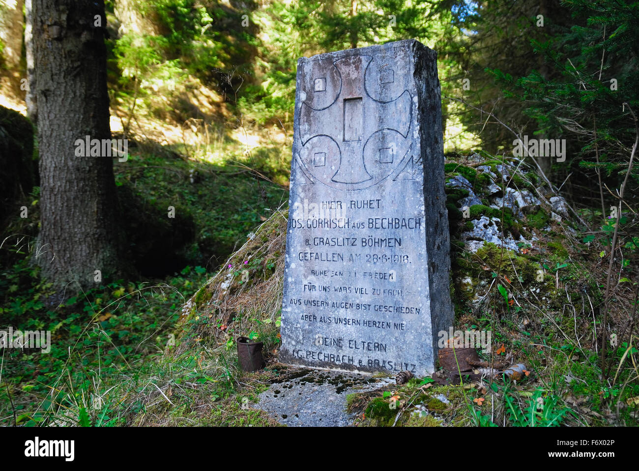 Asiago plateau, Veneto, Italy, WWI the grave of an Austro-Hungarian soldier in Val Galmarara. - Stock Image