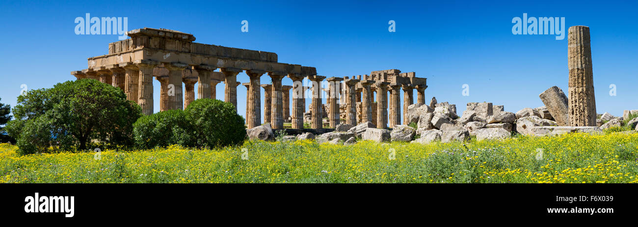 Panorama of the ancient greek Temple District, Selinunte, Sicily, Italy - Stock Image