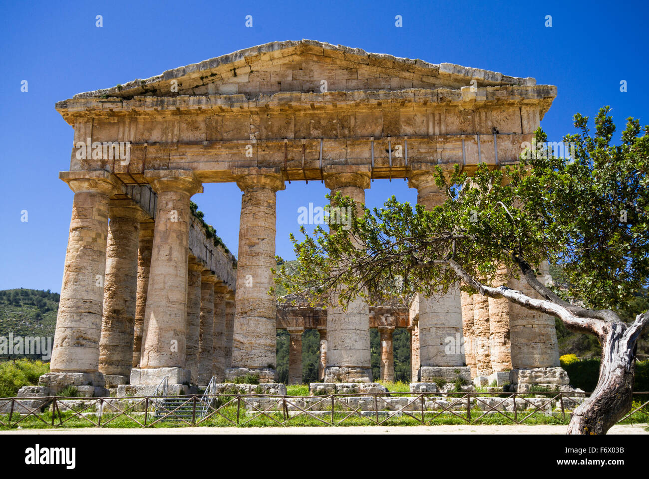 Ancient Greek Temple of Segesta, Sicily, Italy - Stock Image
