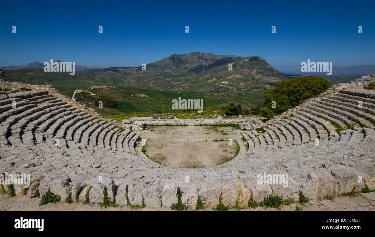Ruins of the Greek Theater in Segesta, Sicily, Italy - Stock Image